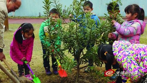 无锡扬名中心幼儿园开展植树亲子活动