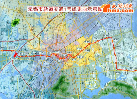 无锡轨道1号线示意图-无锡轨道交通1号线计划2014年通车图片